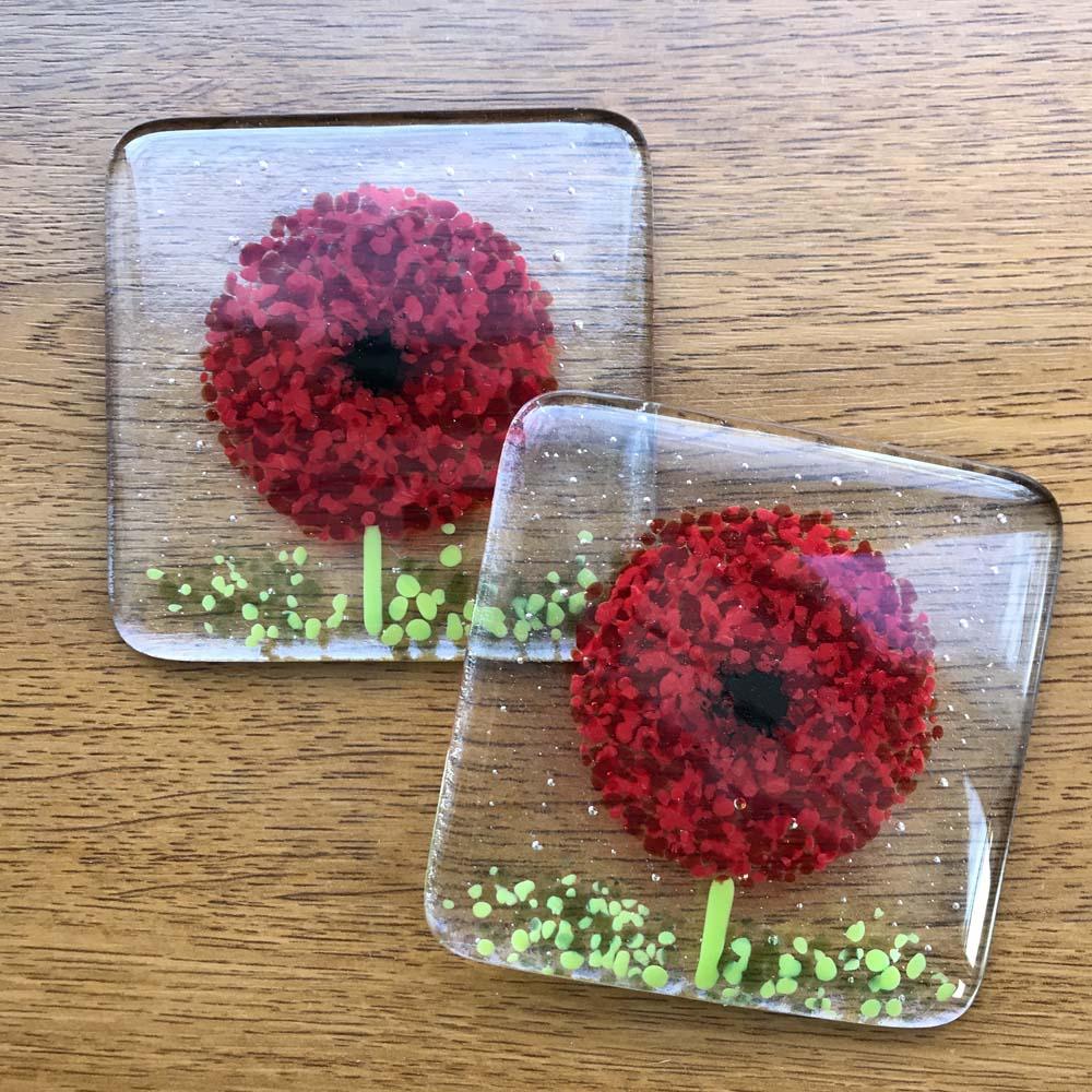 Poppy Glass Coaster